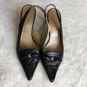 Salvatore Ferragamo Black Leather Heels 10 B